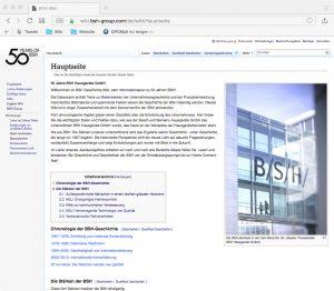 Screenshot der deutschen Version des BSH-Wikis.