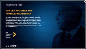 Screenshot aus der Fresenius-App, die anlässlich des 100-jährigen Jubiläums entwickelt wurde.