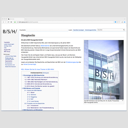 Screenshot der deutschen Version des BSH-Wikis.