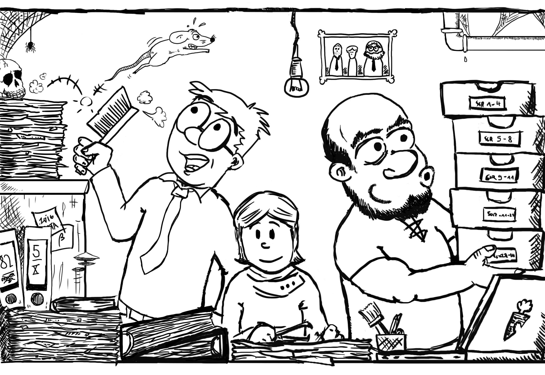 Geschichte im Comic: Archis bei der Arbeit: Dr. Meal, Miss Birdie und Rasnag.